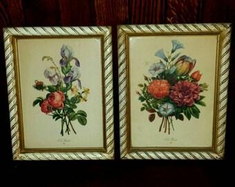 Vintage S/2  J.L. Prevost Botanical Floral Lithograph Prints, Framed Floral Art, French Country Decor, Cottage Decor, Shabby Chic Decor