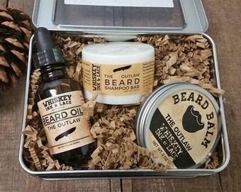The Outlaw Beard Kit - Pine & Patchouli Beard Oil, Balm, and Shampoo Kit for Men, Beard Care Kit, Woodsy Men's Grooming Kit