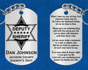 Deputy Sheriff Steel Keychain with Prayer, Personalized FREE, Great Gift