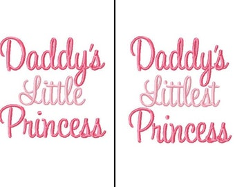 Daddy's Little Princess Embroidery Designs -INSTANT DOWNLOAD-