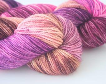 """Fine Merino Sock """"Chocolate Berries"""" Hand Dyed Yarn"""