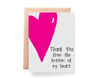 Thank You Card - Thank You Note - From the Bottom of My Heart - Gray and Pink Card - Sweet Thank You Card - Sincere Thank You Card