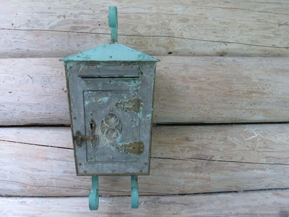 French Antique Mailbox Turquoise Chippy Paint Metal Mailbox Country Farmhouse Shabby Chic Rustic Ornate Gray Paint Distressed Letterbox