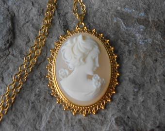 Victorian Woman Portrait Cameo Gold Plated Pendant Necklace - Unique - Vintage Look, Victorian Look - Wedding - Bridal