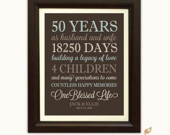 50th Anniversary Gift for Parents for Grandparents Gift - 50 year anniversary - Keepsake Wall Art - Personalized Gift - Anniversary Canvas