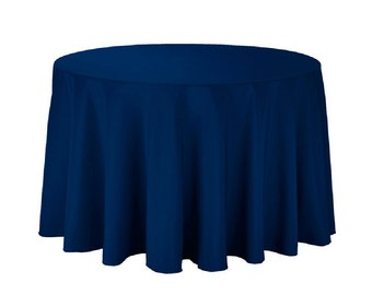 """108 inch Round Polyester Tablecloth - 108"""" Navy Tablecloth 100% Polyester Wedding Table Linen"""