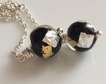 Venetian Glass Threader Earrings / Murano Glass Earrings / Sterling Silver Ear Threads / Black Venetian Glass Earrings / Long Dangle Earring