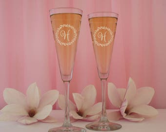 Personalized Champagne Trumpet Flutes Engraved with Bridal Party Monogram Design Options, Elements, & Font List for your Selection (Each)