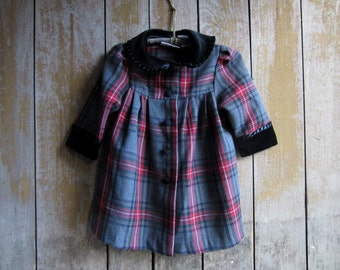 Vintage Little Bitty Winter Baby Dress, Christmas Dress,12 Months, Red & Gray,Long Sleeves,Black Velvet Trim,Girls Clothing,Christmas Dress