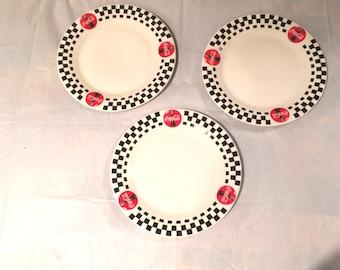 """Vintage Set of Three Coca Cola Large Dinner Plates 10.5"""""""
