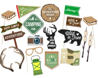 Photo Booth Props - Photo Props - Camping Party Props - Glamping - Birthday Party Props - Boys Birthday Party - The Adventure Begins-Wedding
