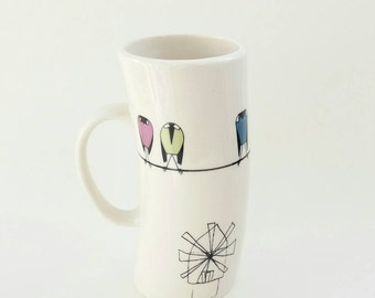 Handmade Large Porcelain Cup, Ceramic Mug for Tea, Coffee Cup, Hot Chocolate Mug, Windmill