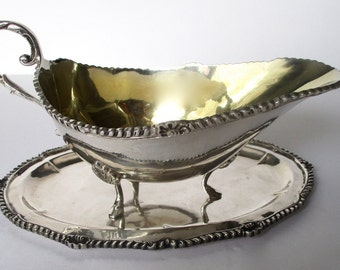 Antique 900 Silver Sauce Boat & Salver  With Light Gilt Lining