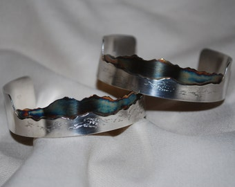 Custom Made Mountain Bracelet, Patina, Sterling Silver, Jewelry