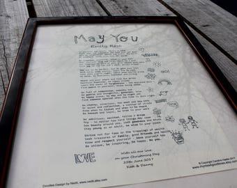 Personalised: NEW BABY Gift. A4 Custom Poem Print.