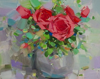 Vase of Roses, Flowers oil Painting, Impressionism, One of a kind