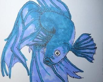 A6 siamese fighting fish illustration