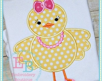 Personalized Girl Easter Chick with Bow & Necklace Applique Shirt or Onesie Girl or Boy