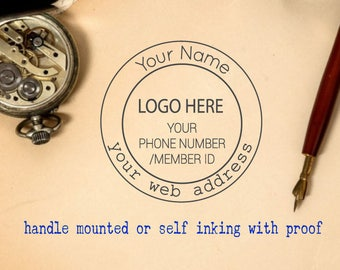 Handle Mounted rubber stamp or Self inking - with logo
