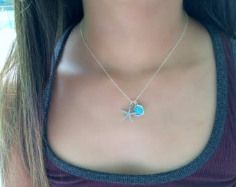 Starfish Choker Mint Gemstone Necklace Mint Necklace Starfish Jewelry Mint Jewelry Starfish Ocean Blue Mint Beach Wedding Beach Jewelry