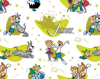 Jetsons Fabric Family Love in White From Camelot 100% Cotton