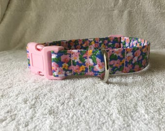 Pink and Blue Blossom Dog Collar