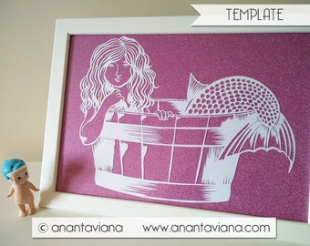 Papercut Template Commercial | Child Mermaid Vintage | Commercial Use | Design by Anantaviana
