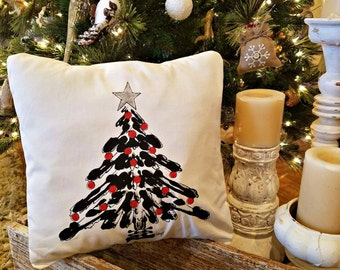 Christmas Tree, Black and Red, Christmas Ornaments, Whimsical, Holiday Pillows,  Hand-painted, Christmas Tree, Pillow Cover, No. 603