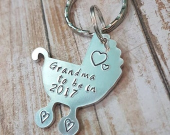 Grandma to be hand stamped personalised stroller baby carriage keychain