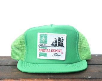 Vintage Heileman's Special Export Beer Sailing Ship Trucker Hat Snapback Baseball Cap Made In USA Patch