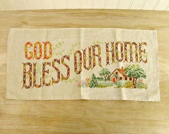 Vintage Embroidery God Bless Our Home Farmhouse Decor Kitchen Needlework Country Kitchen Decor Prayer Cross Stitch Dining Room Decor