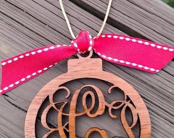 Monogram Christmas Ornament / Monogram Ornament / Christmas Ornaments / Wood Ornaments / laser Ornaments / Laser Monogram / Monogram initial