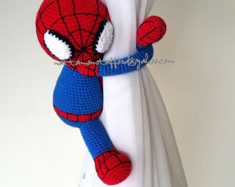 1 Spiderman Crochet curtain tie back,  Handmade Spiderman crochet,  Nursery tie backs.   MADE TO ORDER***