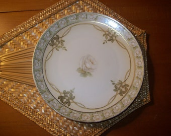 White Rose Plate from Tillowitz Germany factory of Reinhold Schlegelmilch