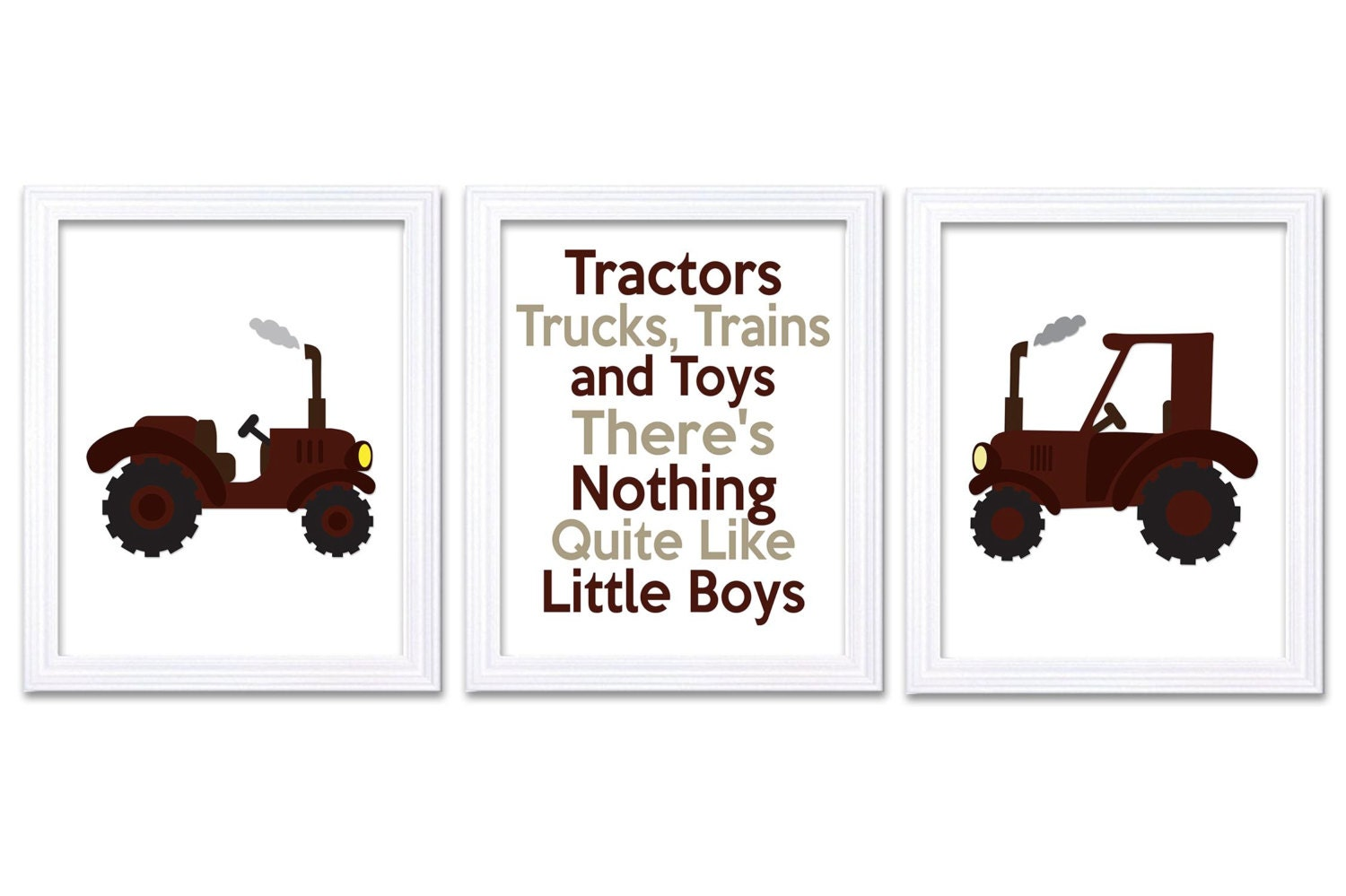 Nursery Art Tractors Trucks and Toys Theres Nothing Quite Like Little Boys Print Set of 3 Brown Beig