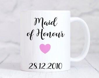 Maid Of Honour Mug, Maid Of Honour  Gift, Wedding Thank You Gift, Personalised Wedding Gift, Personalised Mug, Coffee Mug, Tea Mug, Cup