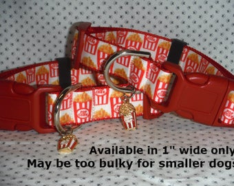 """Popcorn, Movies, snack,  1"""" wide Adjustable Dog collar with popcorn Charm LEASHES & fobs available"""