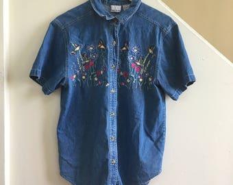 Bobbie Brooks Denim Hummingbird Shirt
