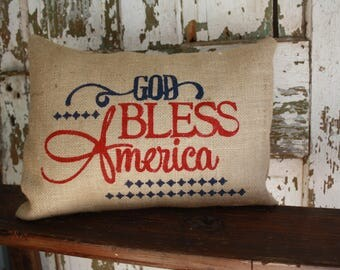 God Bless America Independence Burlap Pillow, 12x16 or 16x16 Pillow Cover, Fourth of July Throw Pillow