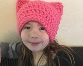 Women's Adult Honolulu Pink Pussy Hat Project - cat Hat - Kitty Beanie - women's March - Pussy Beanie - Cat Beanie
