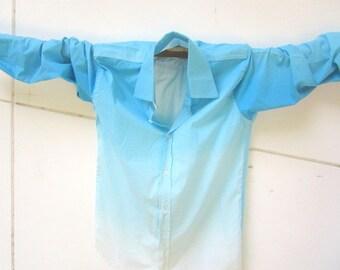 Men's Shirt, Blue, Turquoise, fading blue tones, Slim Fit, One of a Kind Men's Button Down Shirt