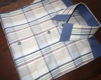 Men's Plaid Shirt, Blue and White Shirt, One of a kind, Tailored Shirt,