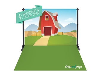 Big Red Barn & Grass Green – Photography Backdrop Combo