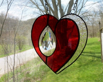 Cherry Red Stained Glass Heart Suncatcher with a Glass Teardrop Crystal