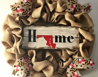 Maryland or Any Home State Burlap Wreath Custom