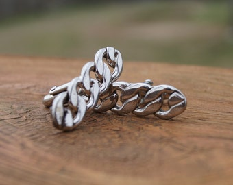 Vintage Silver Chain Cuff Links