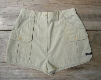 Size 25 Vintage 70's High Waist Shorts by Tomboy LeSport / Khaki Shorts / XS Vintage Shorts / Size 25 inch waist