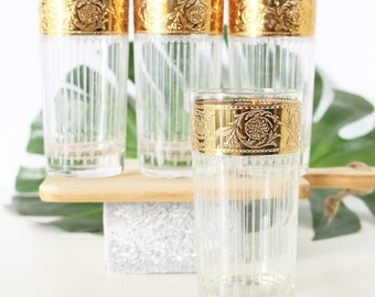 Mid-Century Highball Culver Glasses  In Tyrol Pattern. Home Bar. Liquor Cocktail Glasses. Mad Men Barware. Gifts For Him