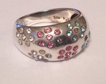 Beautiful Solid Sterling Silver 4.5g Signed David Sigal Pink Bue White Rhinestone Cluster Ring  Size UK O - US 7