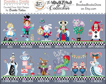 25% Off Full Collection All 12 Brooke's Books Once Upon A Stitch Wonderland Cross Stitch HARD COPY Charts